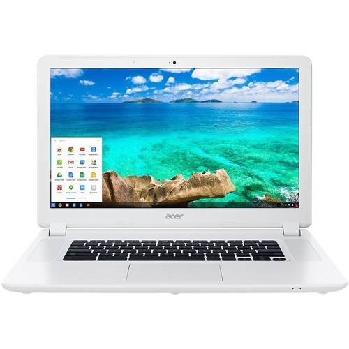 "Acer - 15.6"" Refurbished Chromebook - Intel Celeron - 4GB Memory - 16GB Solid State Drive - White"