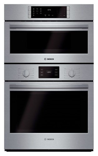 "Bosch - 500 Series 30"" Single Electric Convection Wall Oven with Built-In Microwave - Stainless Steel"