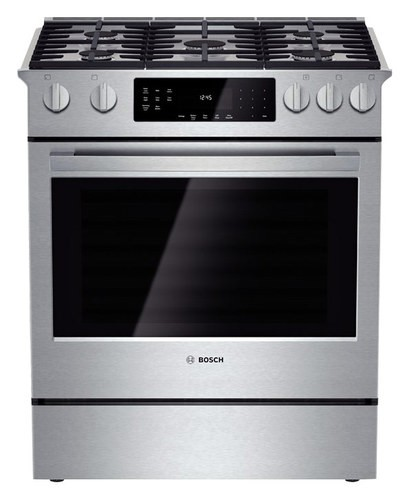 Bosch - 800 Series 4.8 Cu. Ft. Self-Cleaning Slide-In Gas Convection Range - Stainless Steel