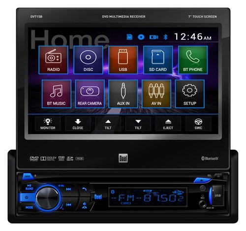 "Dual - 7"" - CD/DVD - Built-In Bluetooth - In-Dash Deck with Detachable Faceplate - Black"