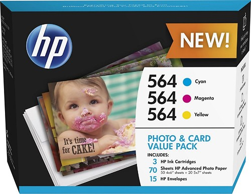 HP - 564 3-Pack Ink Cartridges + Photo Paper - Cyan/Magenta/Yellow