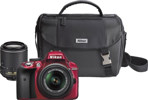 Nikon - D3300 DSLR Camera with 18-55mm VR II and 55-200mm VR II Lenses - Red