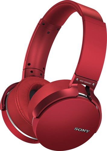 Sony - Extra Bass Wireless Over-the-Ear Headphones - Red