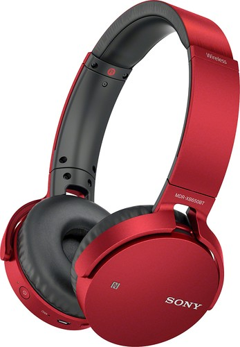 Sony - MDR XB650BT Over-the-Ear Wireless Headphones - Red