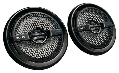 "Sony - 6-1/2"" 2-Way Coaxial Car/Marine Speakers with Dual Cones (Pair) - Black"