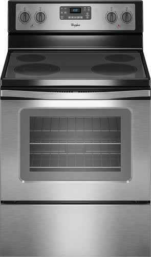 "Whirlpool - 30"" Self-Cleaning Freestanding Electric Range - Black-on-Stainless Steel"
