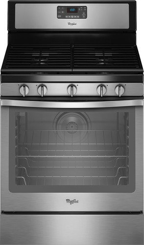 "Whirlpool - 30"" Self-Cleaning Freestanding Gas Convection Range - Black-on-Stainless Steel"