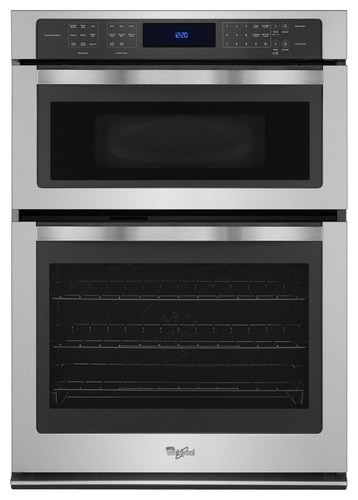 "Whirlpool - 30"" Single Electric Convection Wall Oven with Built-In Microwave - Stainless Steel"