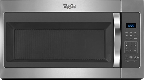 Whirlpool - 1.7 Cu. Ft. Over-the-Range Microwave - Black on stainless