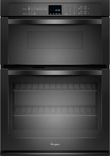 "Whirlpool - 30"" Single Electric Wall Oven with Built-In Microwave - Black"