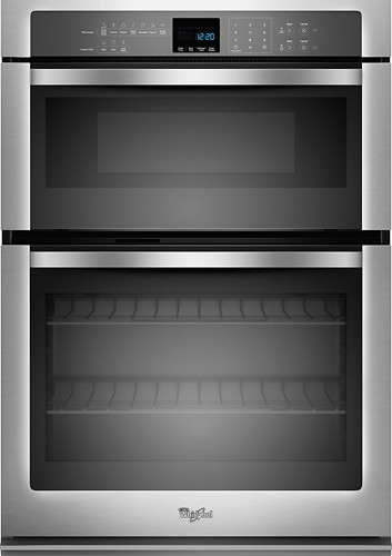 "Whirlpool - 27"" Single Electric Wall Oven with Built-In Microwave - Stainless Steel"